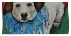 Beach Towel featuring the painting Mikey by Jeanne Fischer