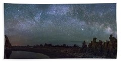 Milky Way At Mono Lake Beach Towel