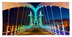 Millennium Bridge At Night, Salford Beach Towel
