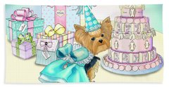 Beach Towel featuring the mixed media Millie Larue Birthday Party by Catia Lee