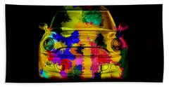 Mini Cooper Colorful Abstract On Black Beach Towel by Eti Reid