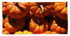 Beach Towel featuring the photograph Mini Fall Pumpkins by Denyse Duhaime