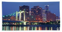 Minneapolis Skyline At Night Beach Sheet