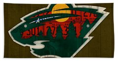 Minnesota Wild Retro Hockey Team Logo Recycled Land Of 10000 Lakes License Plate Art Beach Towel by Design Turnpike