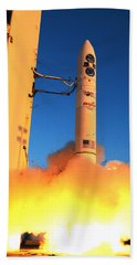 Minotaur Iv Rocket Launches Falconsat-5 Beach Towel by Science Source