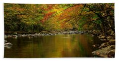 Beach Towel featuring the photograph Mirror Fall Stream In The Mountains by Debbie Green