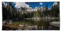 Beach Towel featuring the photograph Mirror Lake by Steven Reed