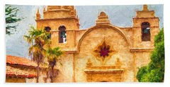 Mission San Carlos Borromeo De Carmelo Impasto Style Beach Towel