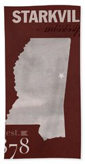 Mississippi State University Bulldogs Starkville College Town State Map Poster Series No 068 Beach Towel