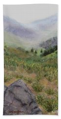 Mist In The Glen Beach Towel by Laurie Morgan