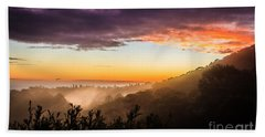 Mist Rising At Dusk Beach Towel