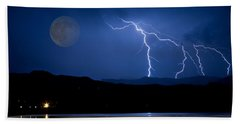Misty Lake Full Moon Lightning Storm Fine Art Photo Beach Towel