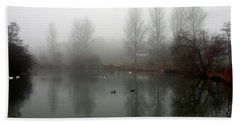 Misty Lake Reflections Beach Towel