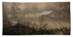 Misty Morn And Horse Beach Towel by Kathy Barney