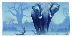 Misty Morning In The Tsavo Beach Towel by Anthony Mwangi