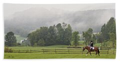 Misty Morning Ride Beach Towel