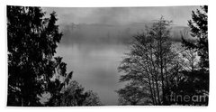 Misty Morning Sunrise Black And White Art Prints Beach Towel