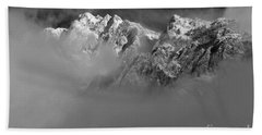 Misty Mountains In Mono Beach Towel