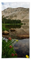 Mitchell Lake Reflections Beach Towel by Ronda Kimbrow