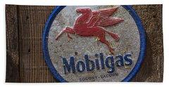 Mobil Gas Sign Beach Towel