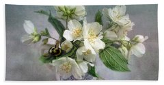 Sweet Mock Orange Blossom Bouquet With Bumble Bee  Beach Towel