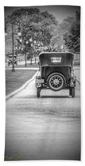Model T Ford Down The Road Beach Towel