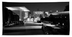 Modern Architecture Night Black White Beach Towel