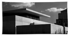 Modern Concrete Architecture Clouds Black White Beach Towel