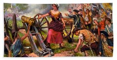 Molly Pitcher Firing Cannon At Battle Of Monmouth Beach Towel