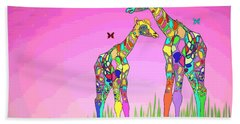Mom And Baby Giraffe Unconditional Love Beach Towel by Joyce Dickens