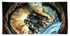 Beach Towel featuring the painting Mom With Her Kittens by Donna Tucker