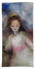 Beach Towel featuring the painting Mommy's Little Girl by Laurie L