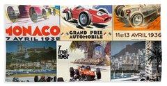 Monaco F1 Grand Prix Vintage Poster Collage Beach Towel