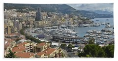 Beach Towel featuring the photograph Monaco Harbor by Allen Sheffield