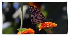 Monarch Butterfly And Orange Zinnias Beach Towel