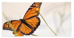 Monarch Butterfly In Flight Beach Towel
