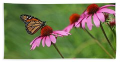 Monarch On Garden Coneflowers Beach Sheet