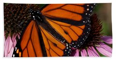 Beach Towel featuring the photograph Monarch On Purple Coneflower by Barbara McMahon