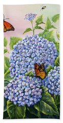 Monarchs And Hydrangeas Beach Towel