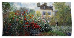 Beach Towel featuring the photograph Monet's The Artist's Garden In Argenteuil  -- A Corner Of The Garden With Dahlias by Cora Wandel