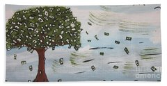 Beach Towel featuring the painting  The Money Tree by Jeffrey Koss