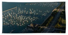 Monroe Harbor Chicago Beach Towel by Steve Gadomski