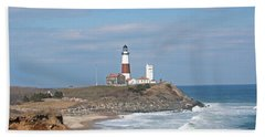 Beach Sheet featuring the photograph Montauk Lighthouse View From Camp Hero by Karen Silvestri