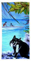 Beach Towel featuring the painting Montego Bay. Part One by Anna  Duyunova