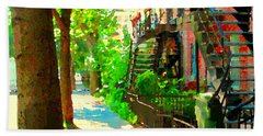 Montreal Art Colorful Winding Staircase Scenes Tree Lined Streets Of Verdun Art By Carole Spandau Beach Towel