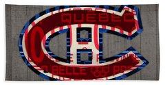 Montreal Canadiens Hockey Team Retro Logo Vintage Recycled Quebec Canada License Plate Art Beach Towel