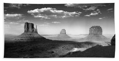 Monument Valley In Black And White Beach Towel