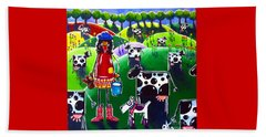Beach Towel featuring the painting Moo Cow Farm by Jackie Carpenter