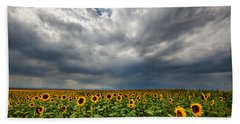 Beach Towel featuring the photograph Moody Skies Over The Sunflower Fields by Ronda Kimbrow