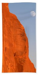 Moon At Monument Valley Beach Towel